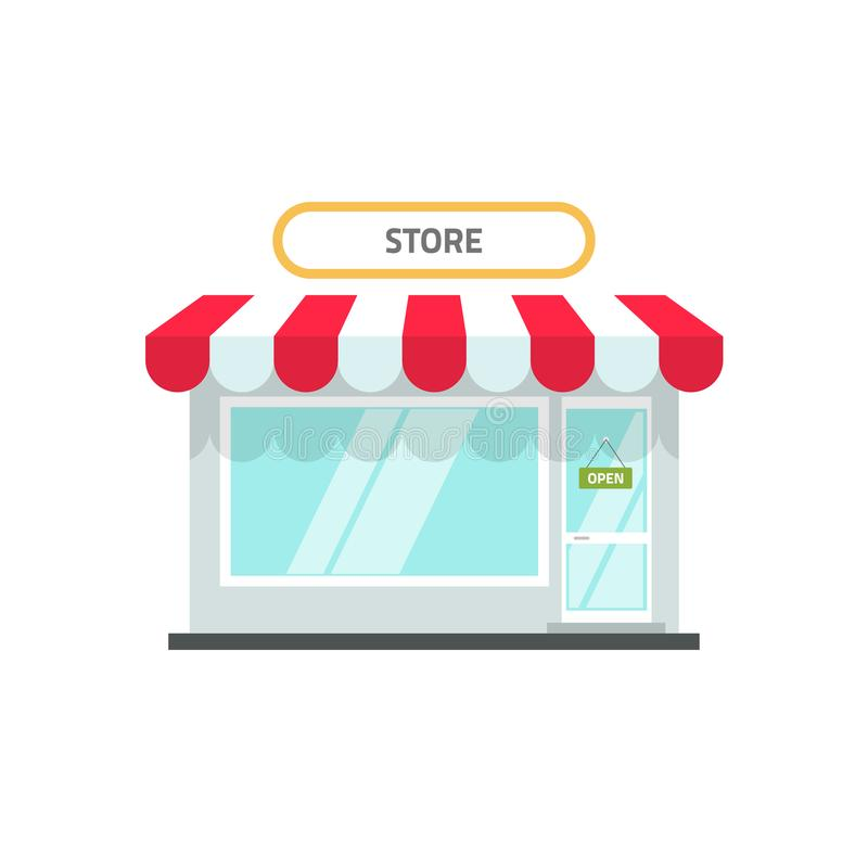 Store or shop facade vector illustration, flat cartoon design small retail shop building front view with open text royalty free illustration