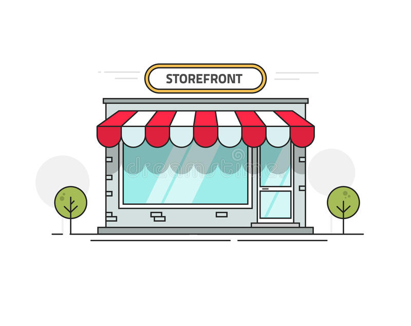 Store or shop front view vector illustration, cartoon line outline storefront on street isolated stock illustration