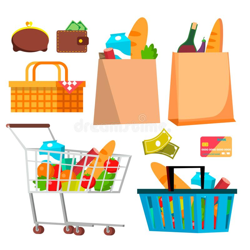 Store Shopping Icons Vector. Wallet, Money, Credit Cart, Products. Isolated Cartoon Illustration stock illustration