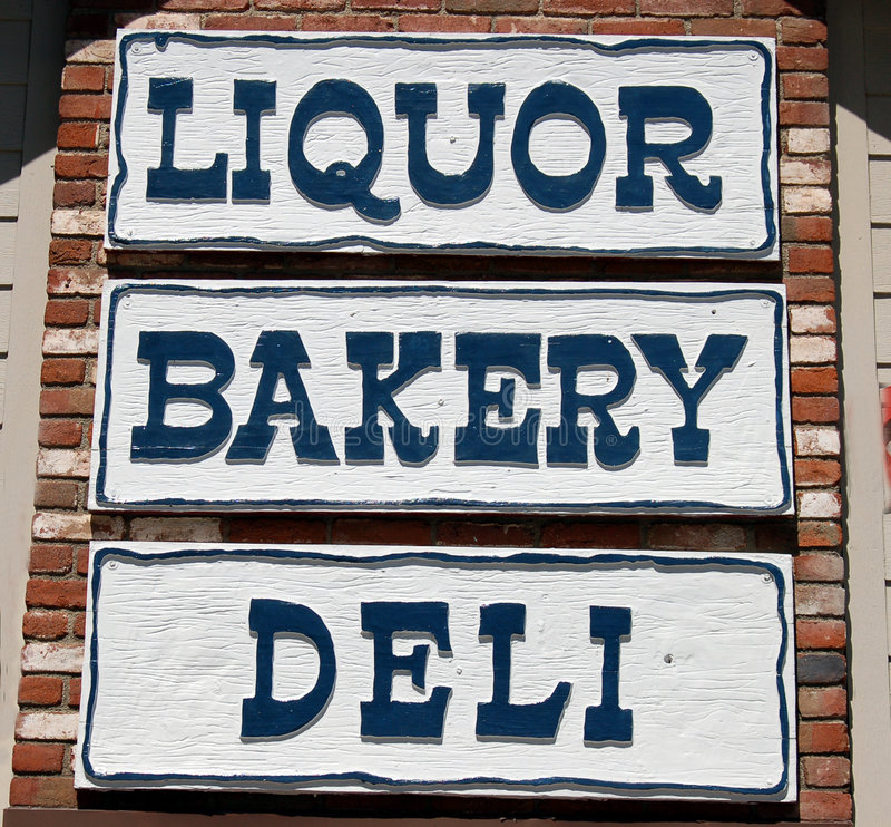 Store Sign. Liquor Bakery Deli Store Sign stock images