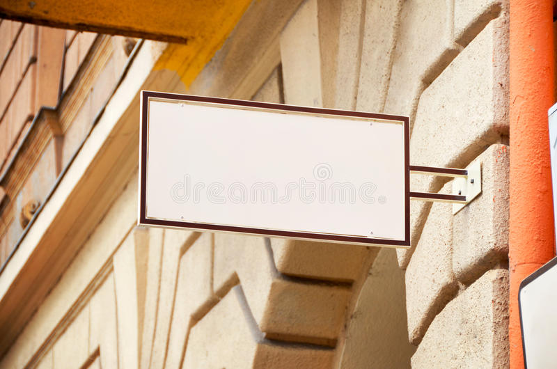 Store sign mockup to add company logo stock image