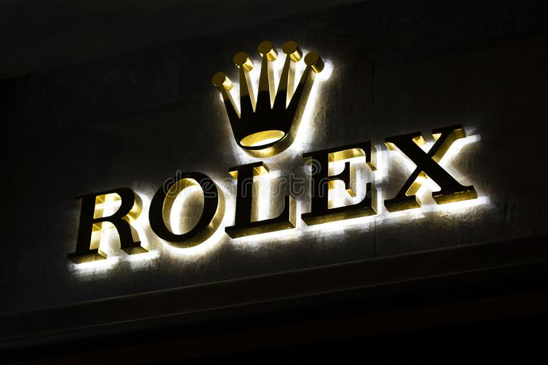 Store signboard rolex with brand logo. Shop of premium luxury clock in Barcelona, Catalonia, Spain. 2019-05-01 stock photos