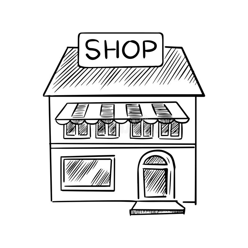 Store sketch with shop signboard royalty free illustration