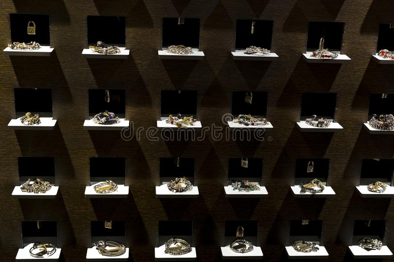 The store of the Spanish firm of jewelry and costume jewelry UNOde50 on the central square of the capital. MADRID, SPAIN - 28 MARCH, 2018: The store of the stock images