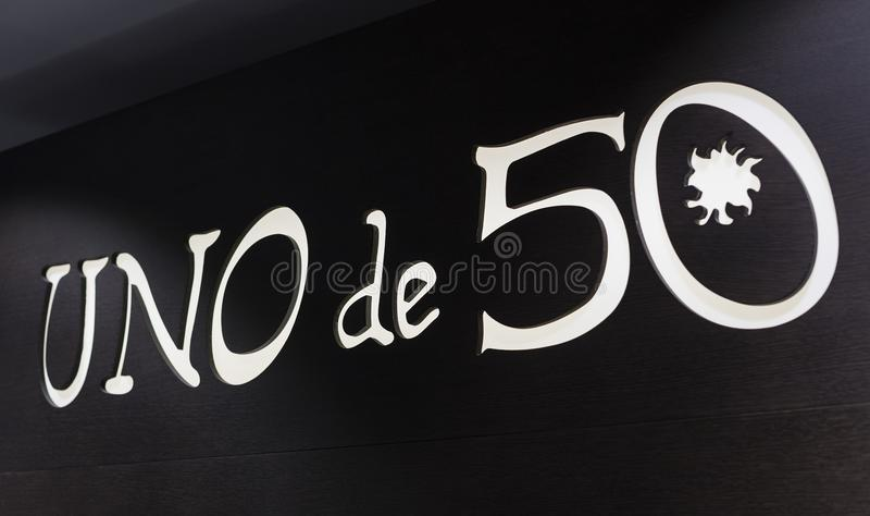 The store of the Spanish firm of jewelry and costume jewelry UNOde50 on the central square of the capital. MADRID, SPAIN - 28 MARCH, 2018: The store of the stock image
