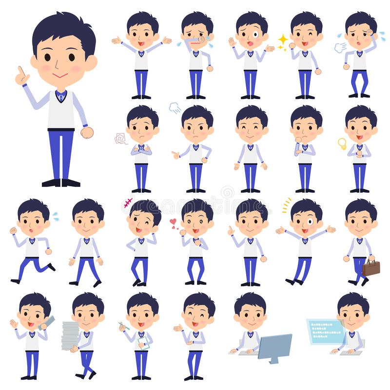 Store staff Blue uniform men_1 stock illustration