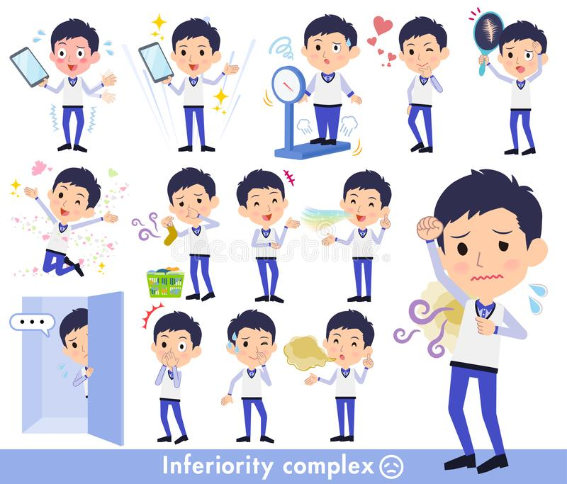 Store staff Blue uniform men_complex vector illustration