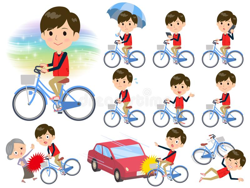 Store staff red uniform men_city bicycle vector illustration