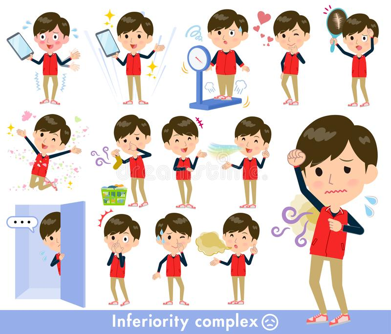 Store staff red uniform men_complex royalty free illustration