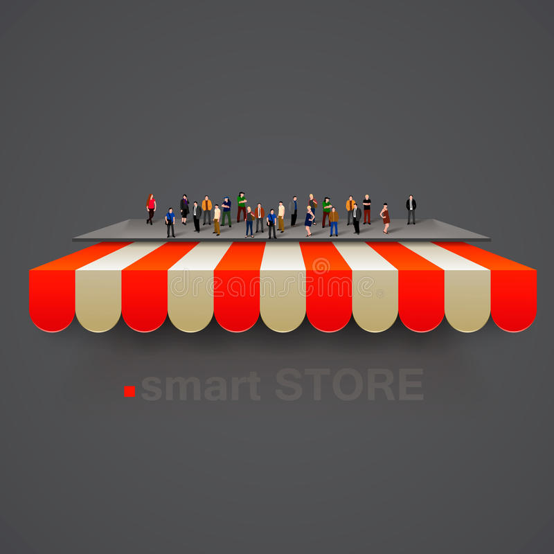 Store striped awning with people crowd. Vector stock illustration