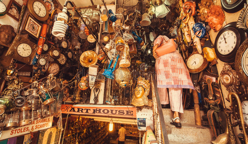 Store with vintage furniture, art objects and antiques on second-hand market royalty free stock photography