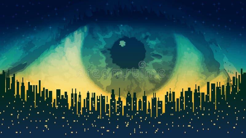 Storebror - elektroniskt all-seende öga för begrepp, teknologin av global bevakning stock illustrationer
