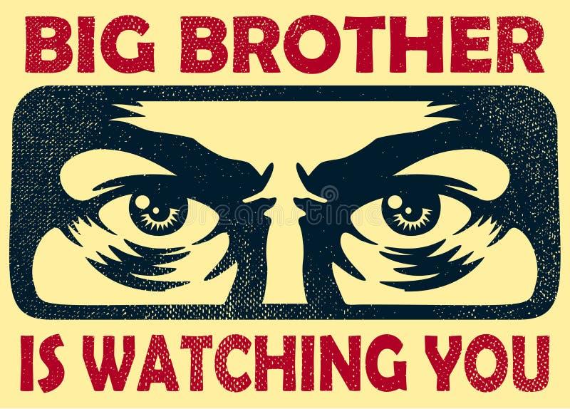 Storebror som håller ögonen på dig spionera ögon, bevakning och illustrationen för avskildhetsbegreppsvektor stock illustrationer