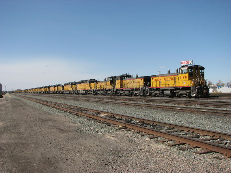 Stored Locomotives. Dozens of Union Pacific railroad locomotives sit stored out of service in the Nampa, Idaho, yards due to the current economic recession. Rail royalty free stock images