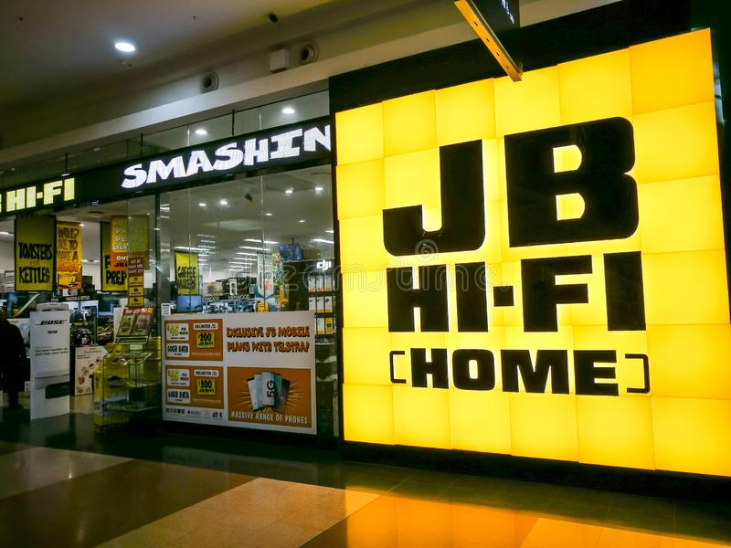 The storefront of JB Hi-Fi is a publicly listed Australian retailer that sells and specialises in consumer goods. PENRITH, AUSTRALIA. - On July 16, 2019. - The royalty free stock photos