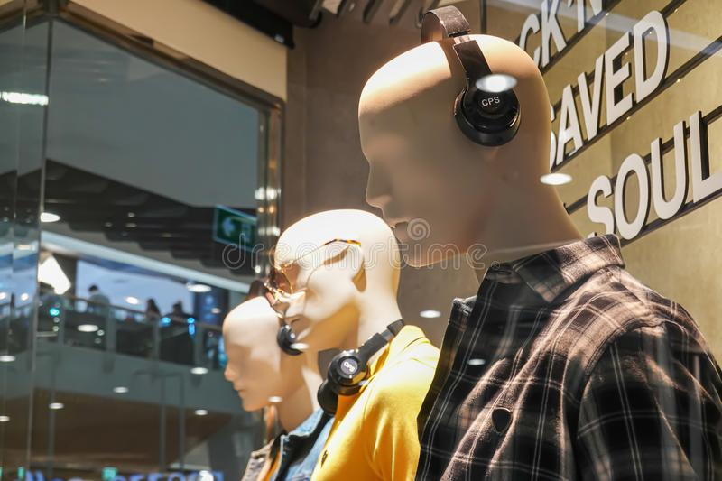 A storefront mannequin for fashion brand CPS Chaps, one of the brands owned by the textile conglomerate Jaspal Group royalty free stock photos