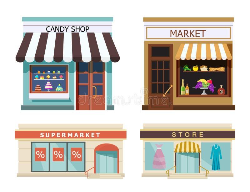 storefront Set różni kolorowi sklepy wprowadzać na rynek, cukierku sklep, supermarket, sklep Wektor, ilustracja w mieszkanie styl ilustracja wektor