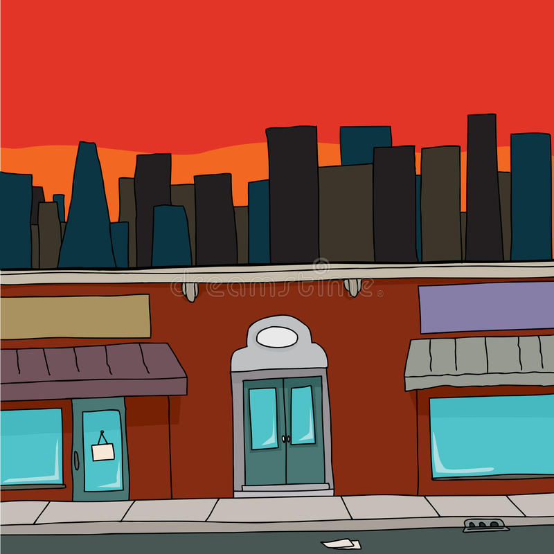Storefront with Skyline vector illustration