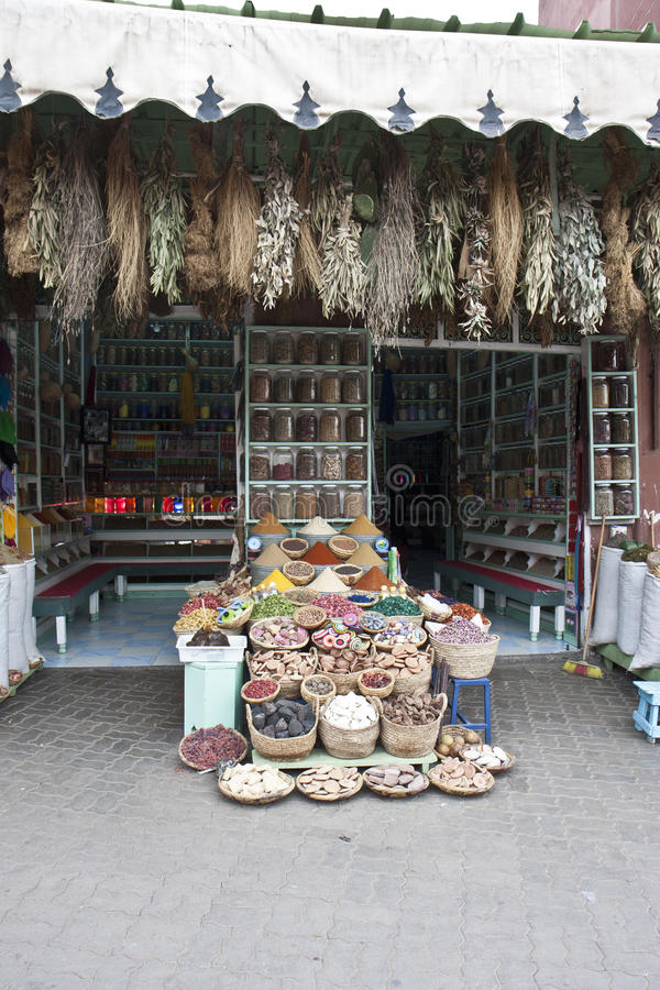 Storefront Spice Display Stock Photo