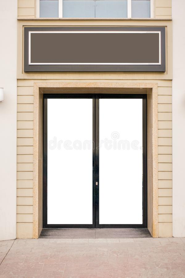 storefront Wyśmiewa w górę pustego szklanego drzwi i opróżnia signboard zdjęcie royalty free