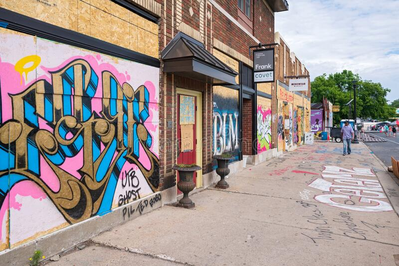 Storefronts along chicago avenue near floyd slaying royalty free stock photography