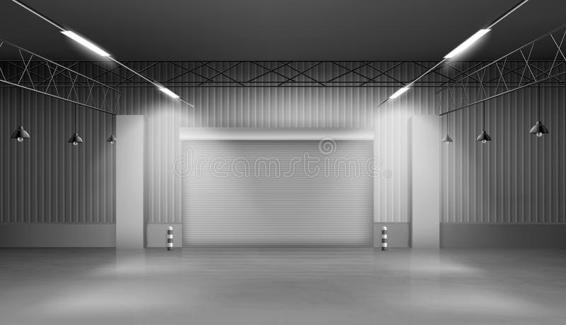 Empty storehouse, warehouse interior, factory. Storehouse, empty warehouse interior, factory building with lifting door, concrete floor and lighting. Large space royalty free illustration
