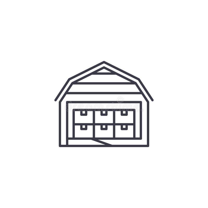 Storehouse ikony liniowy pojęcie Storehouse wektoru kreskowy znak, symbol, ilustracja royalty ilustracja