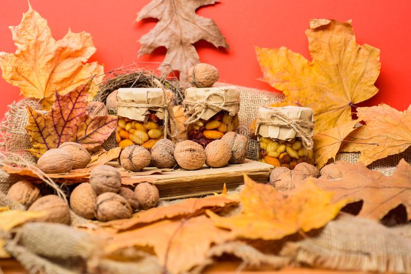 Storehouse of vitamins concept. Natural homemade treats autumn season keep healthy. Set three honey natural sweets in royalty free stock photography