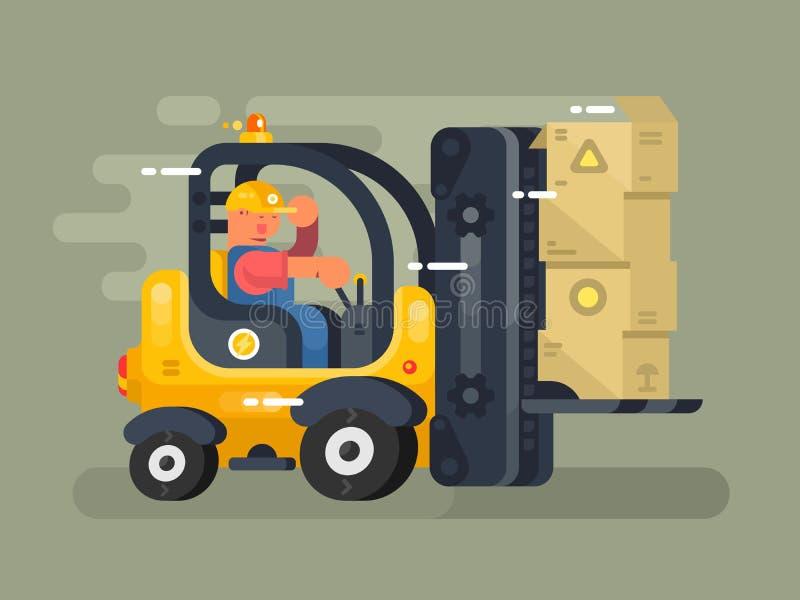 Storekeeper ładowacza płaski projekt ilustracja wektor