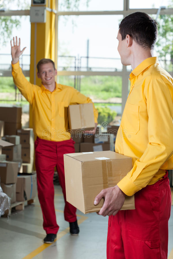 Storekeepers doing their job. In a factory royalty free stock images