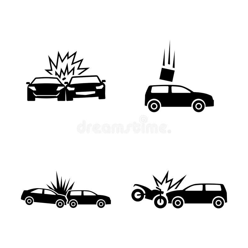 storen för krasch för bilbilsammanstötning har huvudvägen iced hastighet Enkla släkta vektorsymboler stock illustrationer