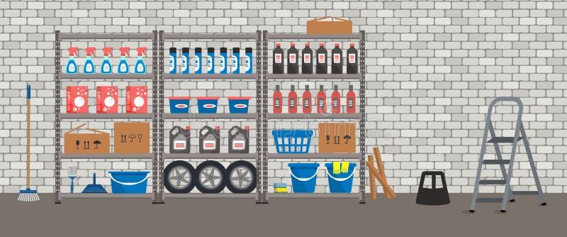 storeroom Odkładać z gospodarstwo domowe towarami Magazynów stojaki na ściany z cegieł bacground royalty ilustracja