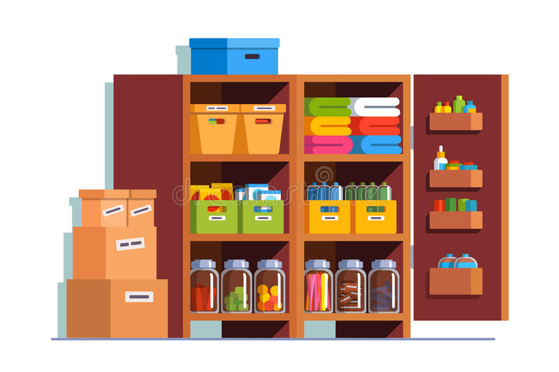 Storeroom or pantry cellar with wooden cupboard. Storeroom interior design with big wooden cupboard full of boxes, glass bottles, household goods. Pantry cellar vector illustration