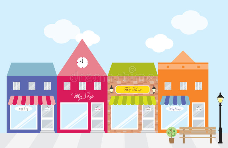Stores. Vector illustration of strip mall shopping center. Each store is individually grouped and can be separated easily. Window display can be easily edited if