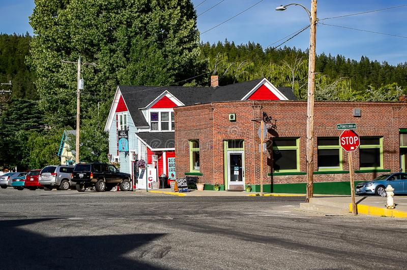 Stores in downtown Roslyn, WA. USA royalty free stock images