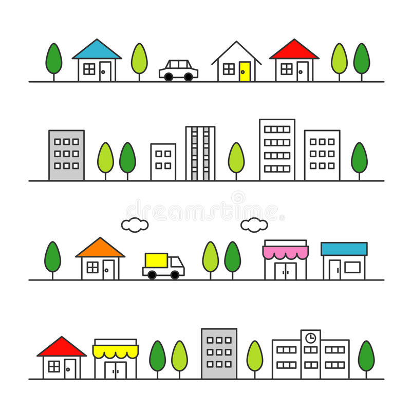 Stores and houses on a street stock illustration