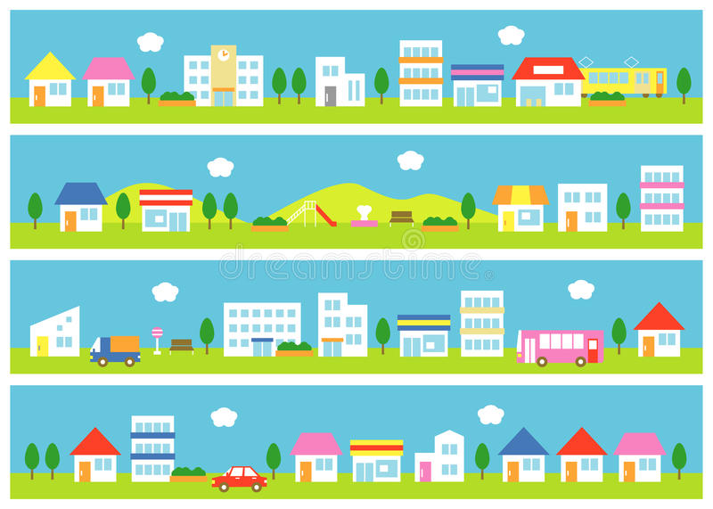 Stores and houses on a street vector illustration