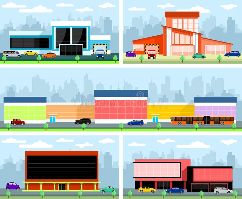 Stores and malls. Vector flat shopping malls and supermarkets buildings set vector illustration