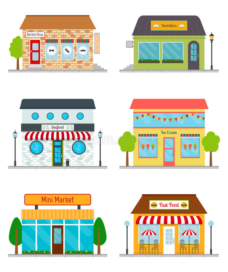 Stores and shops buildings. vector illustration