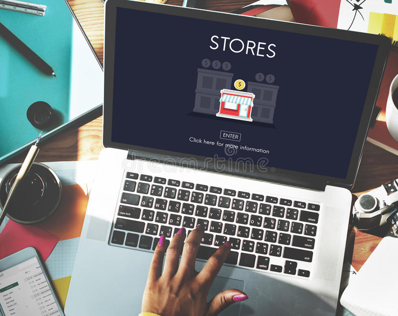 Stores Shops Business Opportunity Investment Concept royalty free stock images