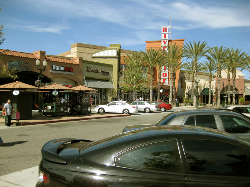 Stores and Shops, Riverside Plaza, Riverside, California, USA stock photo