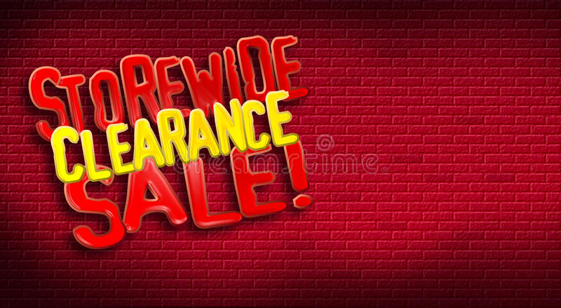 Storewide Clearance Sale Brick. Storewide Clearance Sale logo on brick background. Designed for use as postcard promoting January or After Christmas Sale for a royalty free stock images