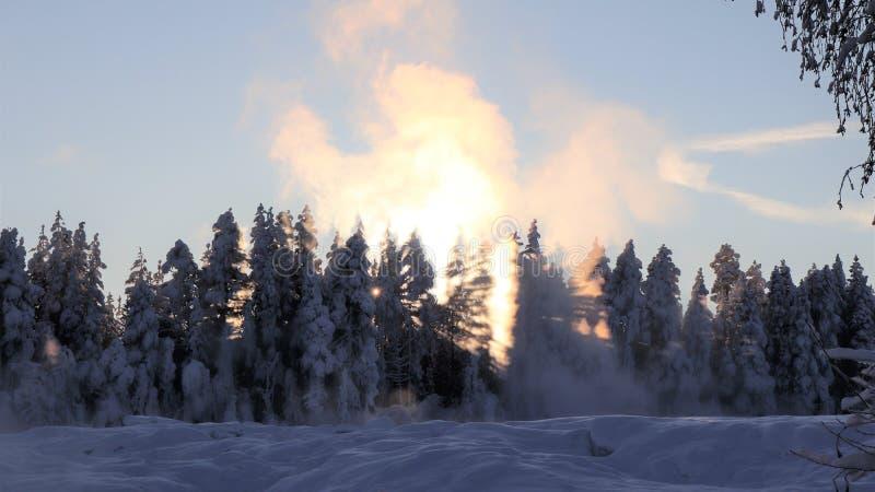 Storforsen σε ένα μυθικό χειμερινό τοπίο στοκ εικόνες