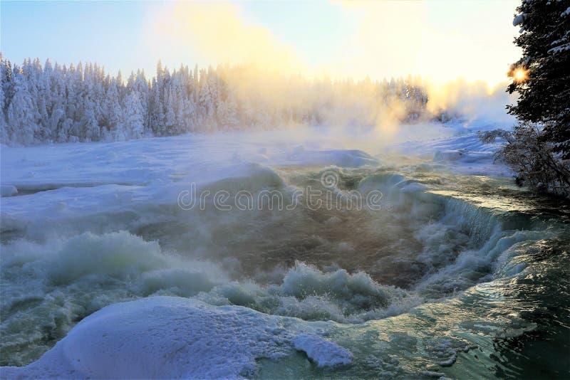 Storforsen dans un paysage fabuleux d'hiver images stock