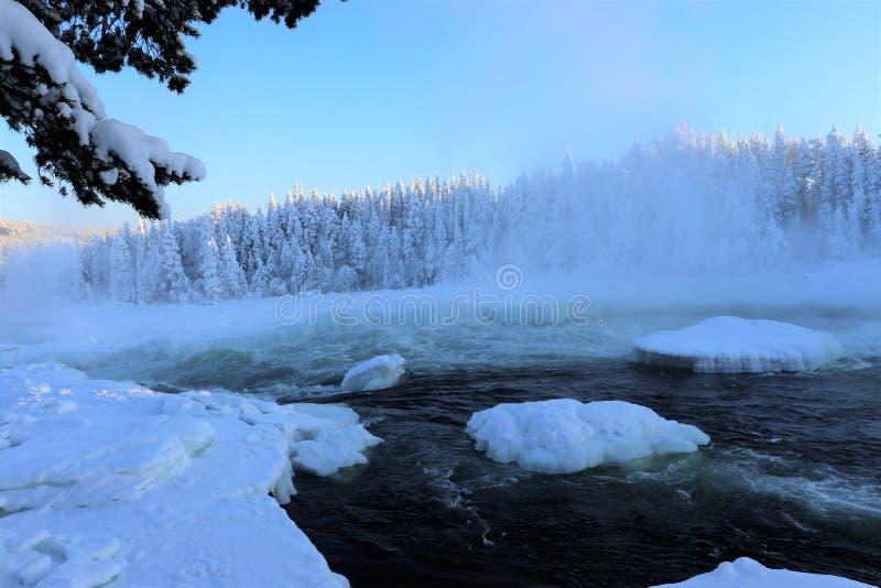 Storforsen dans un paysage fabuleux d'hiver images libres de droits