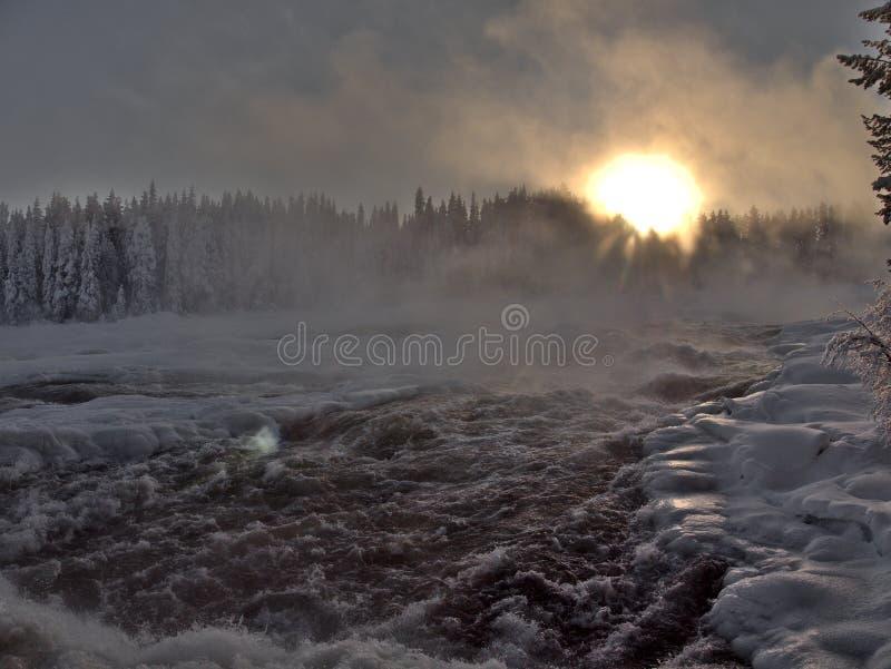 Storforsen, duża siklawa w Szwecja zdjęcia stock
