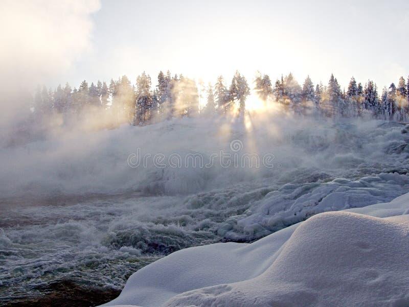 Storforsen, duża siklawa w Szwecja obraz royalty free