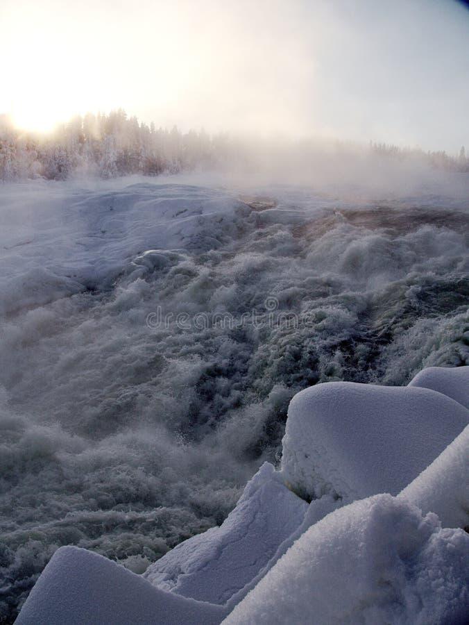 Storforsen, duża siklawa w Szwecja zdjęcia royalty free