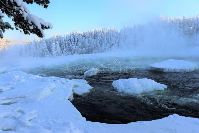 Storforsen in a fabulous winter landscape. Storforsen is Europe`s largest unregulated rapids, where the total length of the entire rapids, from start to finish royalty free stock images