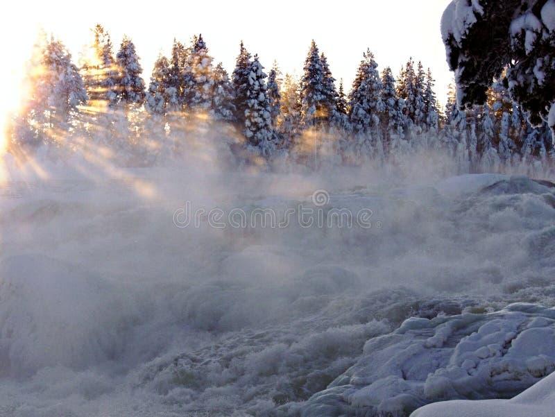 Storforsen vintervattenfall royaltyfri fotografi
